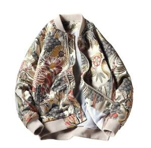 Mens  Embroidered Baseball Jacket Printed Loose Bomber Casual Coats Outwear Sz