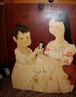 Primitive Folk Art Painting of Children on Old Wood Board Original R. Higgins n