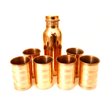 Indian 100% Copper Water Bottle 6 Tumbler Handmade Plain Natural Health Benefit