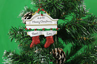 Personalised Couples Christmas Tree Ornament Decoration White Mantle Stockings