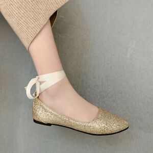 Womens Sequin Loafers Flats Strappy Casual Shoes Pointed Toe Light Comfort Pumps