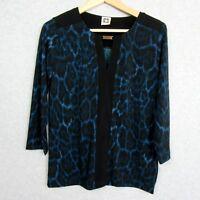 Anne Klein Black Aqua Tunic Top Womens Size Small Blouse