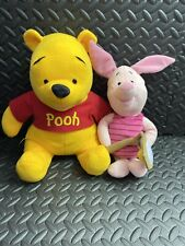 Disney -  Sitting Pooh Bear 12 inches. & Piglet with tennis racket 13 inches