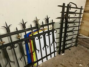 WROUGHT IRON fence panel railings VICTORIAN 1.2x1.5m rivetted @40kgs 2 available