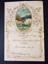 alte glückwunschkarten, ländliche ansicht (farbig)und blumenarabeske 3D, 1917