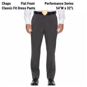 New Chaps Ralph Lauren Classic-Fit Dress Pants Mens 54 x 32 Grey Stretch Career