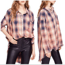FREE PEOPLE NEW TAKE ME ON PLAID FLANNEL SHIRT SIZE S