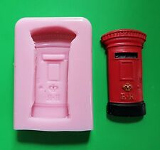 BRITISH POST BOX SILICONE MOULD FOR CAKE TOPPERS, CLAY ETC