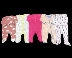 Baby Girl 3 Months 3-6  6 Months Carter's Cotton Sleeper Pajama Clothes Lot
