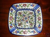 hand painted porcelain ashtray blue red flowers square shape New