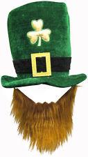 FANCY DRESS IRISH LEPRECHAUN ST PATRICKS EIRE GREEN VELVET HAT WITH BEARD