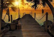 Fototapete TREASURE ISLAND 368x254 Piraten-Insel Sonnenuntergang Schiff Flagge