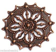 10 - Antiqued Copper plated filigree flower 34mm