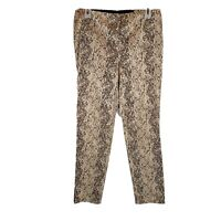Chicos Animal Print Cropped Ankle Pants Size 0.5 30 in Brown Elastic Waist PT31