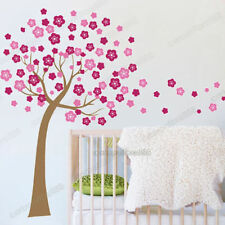 Girls Wall Sticker Large Tree With Pink Flowers Wall Art Mural Baby Kids Room