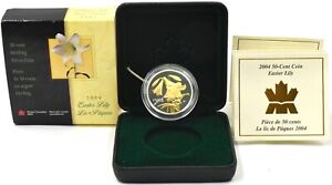 Silver Coin Canada 2004 50 Cent Sterling Silver Proof Easter Lilly BOX + COA