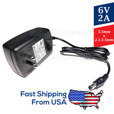 6V 2A Power Supply Adapter, Charger, AC DC Transformer 5.5mm x 2.1-2.5mm