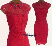 KAREN MILLEN ✩ STUNNING RED LACE JEWEL COLLAR COCKTAIL SHIFT DRESS ✩ UK 14 BNWT