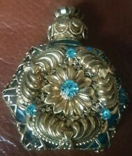 Glass perfume scent bottle , Bohemian , blue and gold