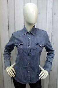 Camicia Di Jeans Carrera Donna Taglia M Blu Chemise Cotone Shirt Manica Lunga