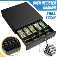 """Cash Register Drawer 16"""" 5 Bill 8 Coin Money Box with Removable Tray Lock&Keys"""