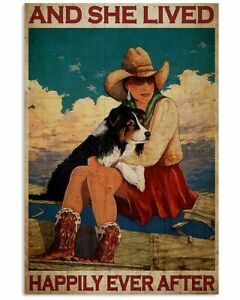 Cowgirl And Dog She Lived Happily Ever After Vintage Portrait Poster
