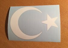 "Star & Crescent Moon #2 white Turkish Flag Islamic Muslim Symbol Vinyl Decal 5"""