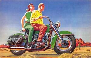 "1953 Harley Davidson Motorcycle ""Flashy New Colors"" Advertising Postcard"