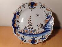 Assiette ancienne faience Moulins 18 siècle ceramique centre France fleur