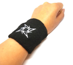 1Pair Sweatbands Black Metallica Ninja Star Logo Sweat Band Wrist Bands