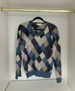 Pringle 100% Pure Cashmere Jumper Sweater Knit Size S 8 Printed Blue Pink Black