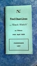Fred Olsen Lines Passenger List 1985 M.S Black Watch