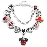 Bracciale Disney Charms Tipo Simil Pandora Ciondoli Minnie Catenina di sicurezza