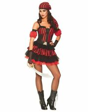 Pirate Costume Ladies Sexy Red & Blk Stripe Dress Arm Cuffs Belt & Headscarf M/L