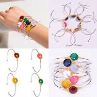 New Fashion Women Nature Stone Open Bracelet Cuff Bangle Chain Wristband Jewelry
