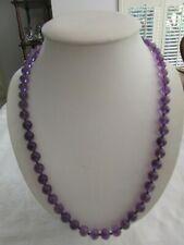 Vintage  Genuine Amethyst Round Bead Necklace 59.5cm long