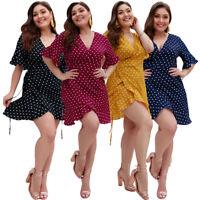 Fashion Women Short Sleeve Polka Dot Midi Dress Plus Wrap Skater Casual V-neck