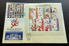 1998 Malaysia XVI Commonwealth Games 16v Mint Stamp Sheetlet FDC (Melaka Cachet)