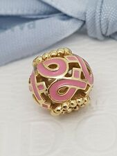 Authentic Pandora 14ct Gold Pink Ribbon Breast Cancer Awareness Charm 750805EN24