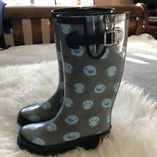CHOOKA Womens Gray Black Trim Rubber Fat Bird Dots Tall Rain Boots Sz 5