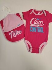 Infant Girls 3-Piece Pink Nike One-Piece W/Matching Bib And Hat/Cap Size 6-9Mos