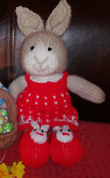 Girl Rabbit & Removable Dress - Hand Knitted Soft Toy - New Custom Crafted