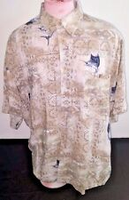 Puritan button front shirt mens size XL brown marlin fish geometric print rayon