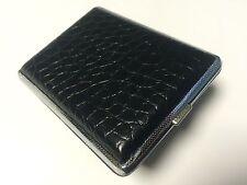 Card Holder / Cigarette / Tampon Case - Black & Silver Croc Print
