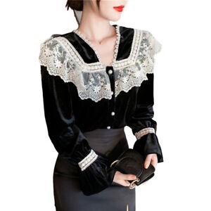 Women Velvet Blouse Lace Ruffle Puff Sleeve Shirt Top Lolita Gothic Retro Black