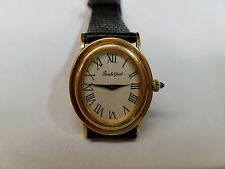Bueche Girod Oval 18k Yellow Gold White Dial Swiss Manual Wind Rare Watch