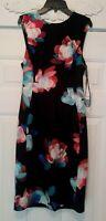 WOMEN'S CALVIN KLEIN DRESS/ BLACK, SIZE 6 / FLORAL PATTERN,SLEEVELESS, NWT