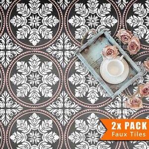 2x Faux Tile Stencils - Paint Tile Effect on Floors Walls Garden Patios - Edessa