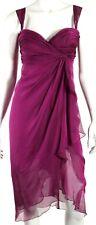 RENE RUIZ Dark Magenta Silk Chiffon Ruffle Front Cocktail Dress 6