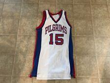 Pilgrim White with Blue and Red Trim No. 15 Medium Basketball Jersey